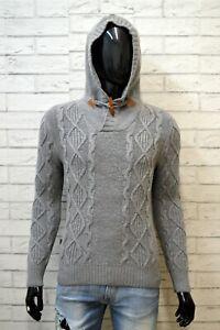 BLAUER-Maglione-Uomo-Pullover-Taglia-S-Slim-Sweater-Cardigan-Lana-Felpa-Grigio
