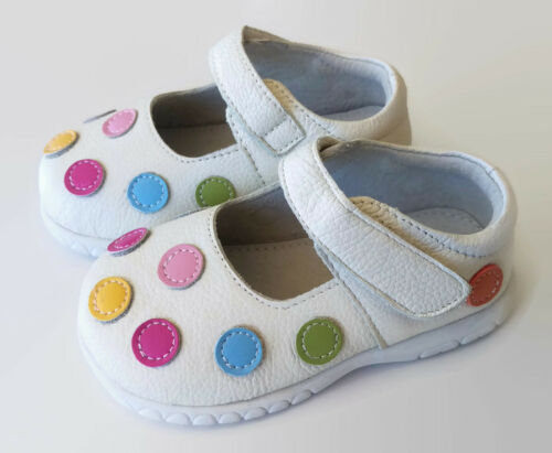Spotty Leather girls shoes toddler kids child baby 1st walkers footwear appx1-4y