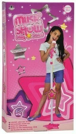 Music Show – Mini Stars – Microphone With Built In Speaker In Stand – New!!
