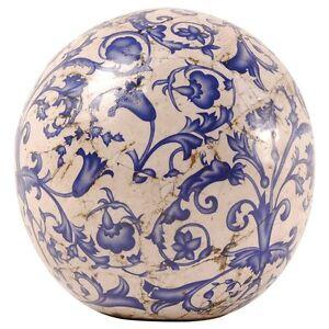 gartenkugel dekokugel keramik 12cm aged blau ac11 ebay. Black Bedroom Furniture Sets. Home Design Ideas