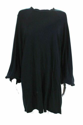 Lanvin Paris. Black Wool Dolman Sleeve Shift Mini
