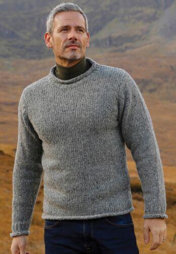 Gents Roll Neck Grey Aran Fisher mans Sweater Pure Irish Wool r193 455