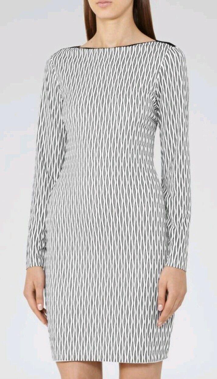 Designer REISS Auguste shift dress Größe 12 --BRAND NEW-- long sleeve Weiß schwarz