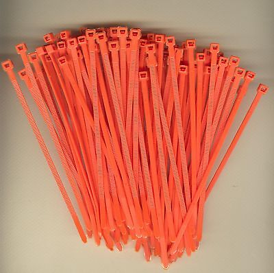 "100 5/"" Inch Long 40# Pound ORANGE Nylon Cable Zip Ties Ty Wraps MADE IN USA"