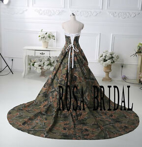 Details about Custom Camo Wedding Dress Birdal Gown Camouflage Wedding Gown  all Plus size