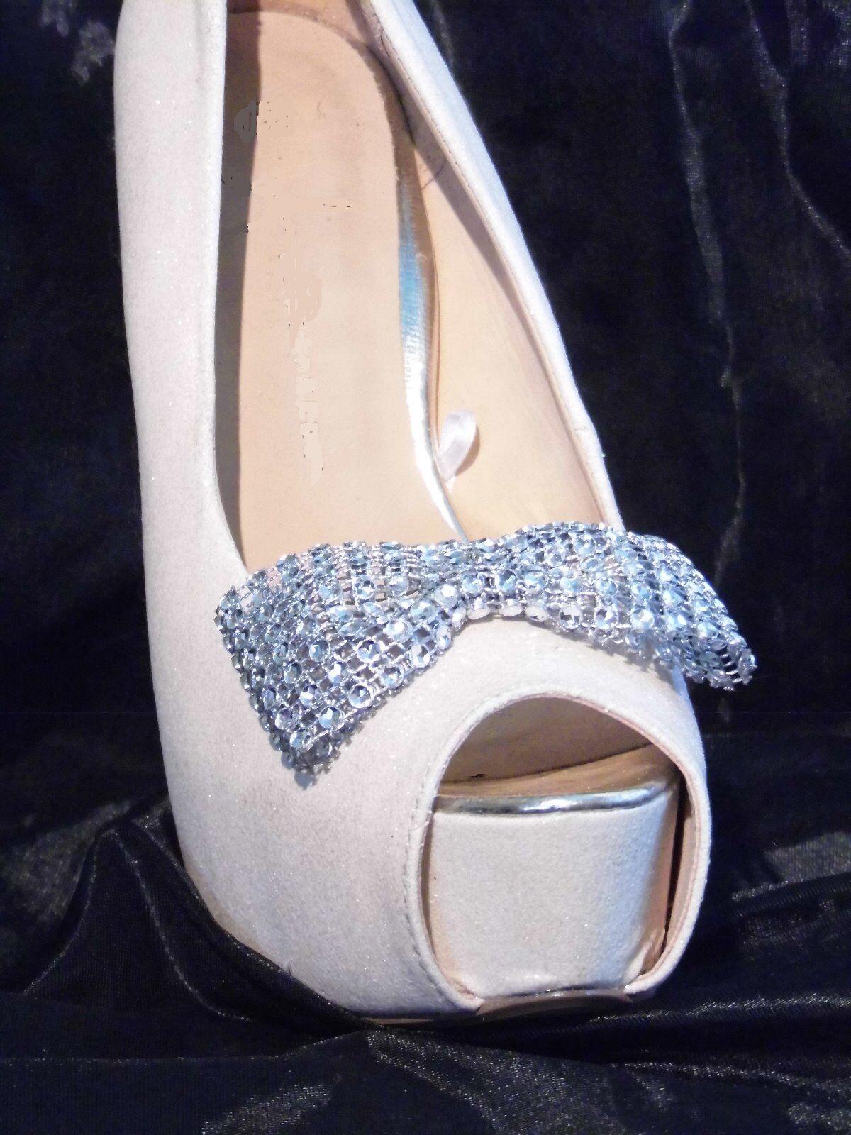 2 Silver Diamante Style Bow Shoe Clips