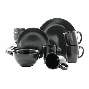 CreaTable 17544 Serie Black and White Kombiservice 16tlg schwarz-matt Geschirr