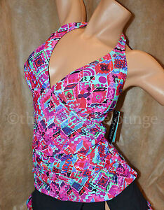 Gottex-Profile-16-Mardi-Gras-Ruched-Halter-Tankini-Swim-Top-Pink-Multi
