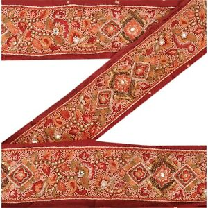 Sanskriti Vintage Dark Red Sari Border Hand Beaded Indian Craft Trim Ribbon Lace Crafts Linens & Textiles (pre-1930)