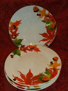 """4 Royal Norfolk Fall Maple Oak Leaves Acorn Autumn 10.5"""" Dinner Plates NEW!!"""