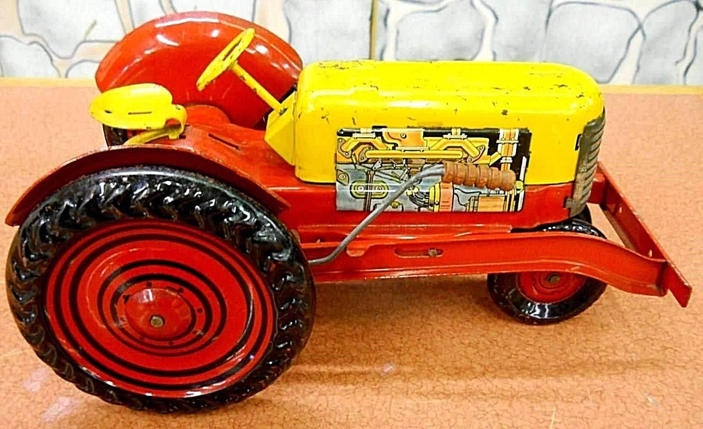 Marx (Lumar) Grande Acero Prensado Tractor de Granja Circa década de 1940