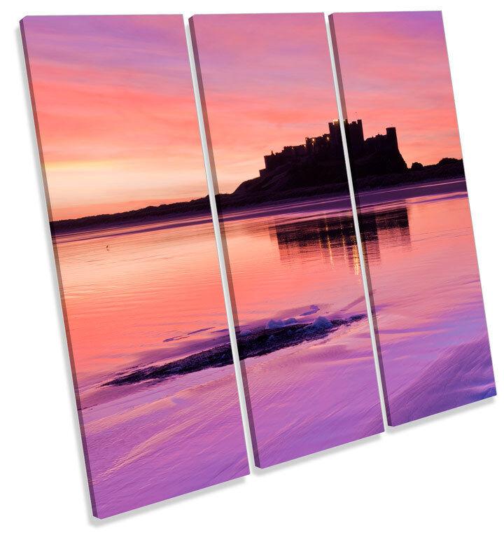 Bernicia Castello Castello Castello tramonto Northumberland TREBLE TELA Wall Art Quadrato foto 8b1842