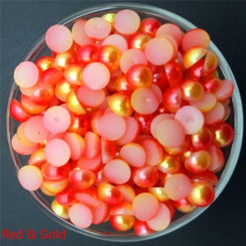 200Pcs 6mm Half Pearl Plastic Bead Flat Back Scrapbook for Craft NO Hole DIY