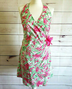 Tropical-Dress-Wrap-Pink-Halterneck-floral-Uk-14-16-races-holiday-party-bbq