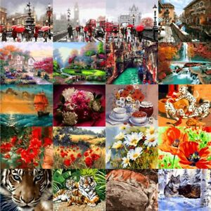 40-50cm-Paint-By-Number-kit-Flowers-Tiger-Bus-Scenery-DIY-Painting-Canvas-Frame