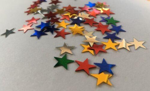 50 Bunte Sterne zum Basteln Kleben Streudeko Weihnachten Glitzer Tischdeko Stars