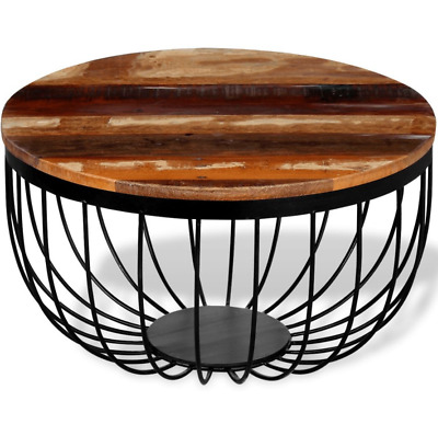 Handcrafted Round Coffee Table Wooden Metal Furniture Industrial Side End Table 793931972897 Ebay