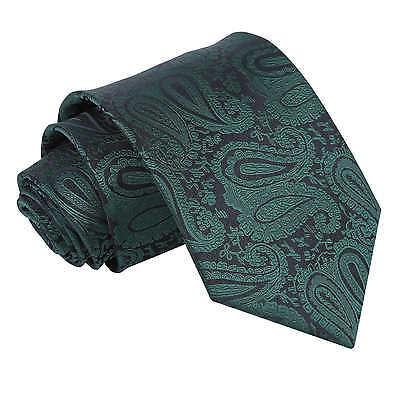 DQT Woven Floral Paisley Emerald Green Formal Wedding Mens Classic Tie