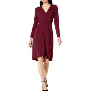 INC-NEW-Women-039-s-Solid-Long-Sleeve-Surplice-Neck-Wrap-Dress-TEDO