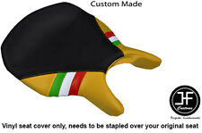 BLACK & YELLOW VINYL ITALIAN FLAG CUSTOM FITS DUCATI 999 749 RIDER SEAT COVER