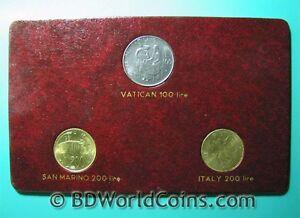 1981-3-COINS-FAO-SET-ITALY-200-LIRE-SAN-MARINO-200-LIRE-VATICAN-100-LIRE