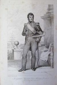 Brillant Amiral Comte Truguet Toulon Var Portrait Etat Des Services Gravure 1839