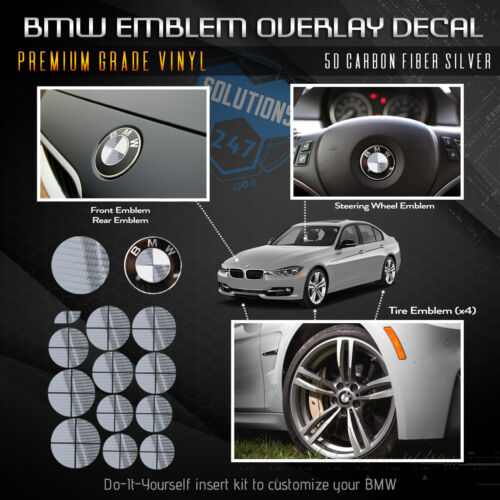 GREEN and WHITE BMW Emblem Overlay Sticker Fits Hood Trunk Wheels Steering Wheel
