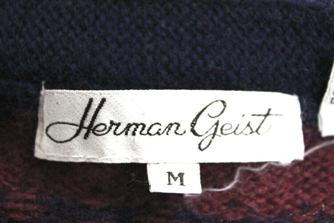 VTG Herman Geist Sweater Cardigan Red/Blue Wool M… - image 6