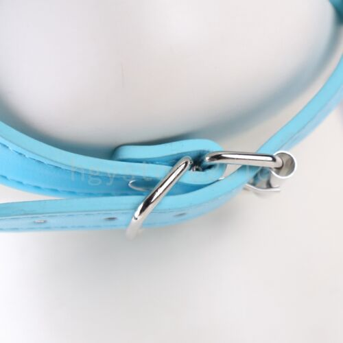 Blue Open Mouth gag Oral Fixation Ring Harness Face Mask Head Strap Harness new