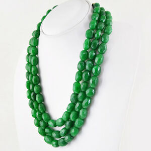 1014-50-CTS-EARTH-MINED-3-STRAND-RICH-GREEN-EMERALD-OVAL-FACETED-BEADS-NECKLACE