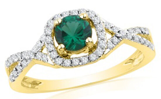 0.69CT NATURAL ROUND DIAMOND 14K SOLID YELLOW gold EMERALD WEDDING CLUSTER RING