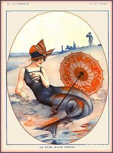 La Vie Parisienne Nouveau Mermaid Sirene France Travel Advertisement Poster