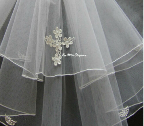 Communion Veil  White with CROSS motif. Ivory 2 Tier First holy communion veil