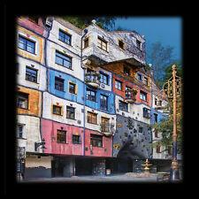 Hundertwasser Hundertwasserhaus Wien Poster Bild Kunstdruck & Alu Rahmen 48x48cm