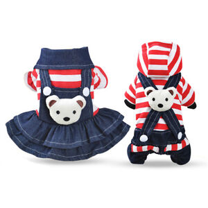 Striped-Jean-Dog-Clothes-Winter-Small-Pet-Jumpsuit-Overalls-Dress-Apparel-Warm