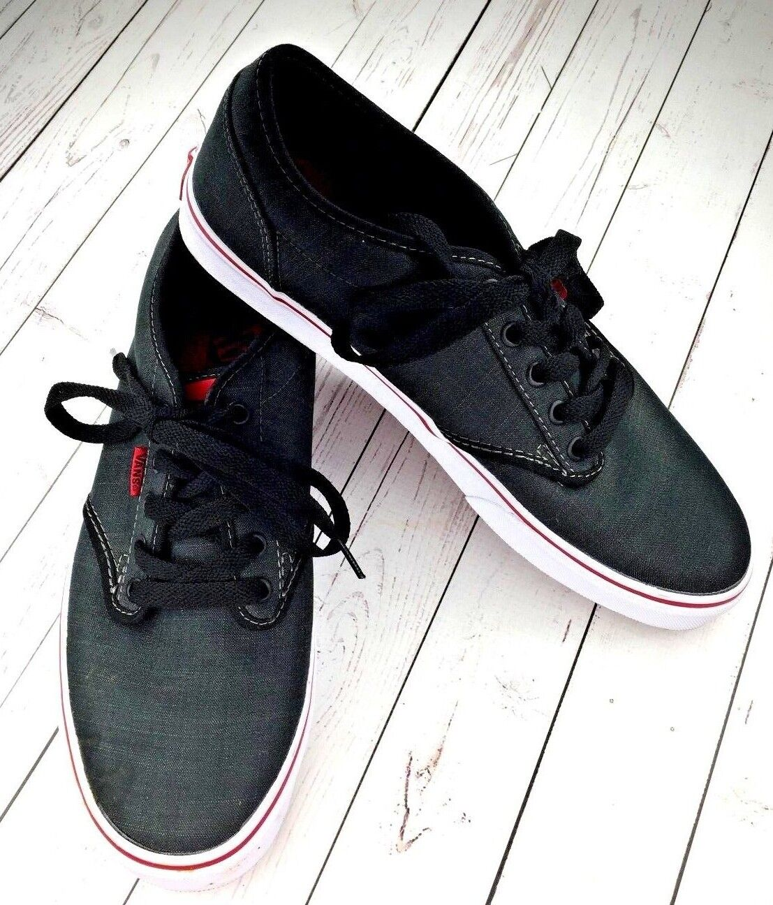 81a37aa6a3 Vans Atwood Skate Mens SZ 10 Charcoal Charcoal Charcoal Casual Sneakers  Dark Gray Red Very Good