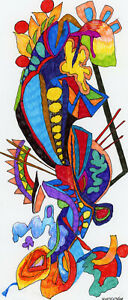 """""""DINOSAUR SWALLOWED BY A FISH"""" ORIGINAL INK DRAWING SIGNED AND DATED."""