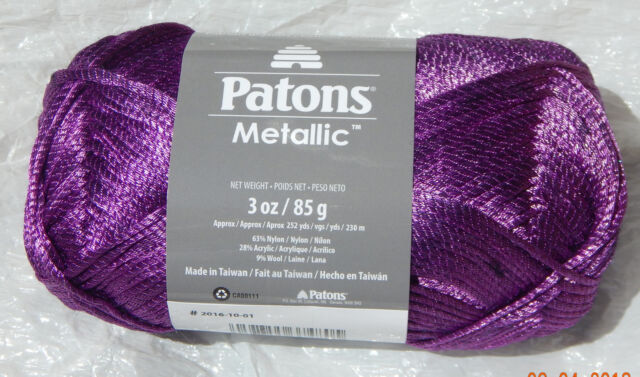 Patons Metallic Yarn In Dark Purple Shimmer Soft Skein 252 Yds Ebay