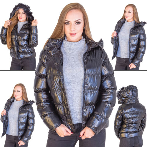 Ladies Brave Soul Fur Trim Stitched Padded Womens Quilted Jacket Hooded Coat M L