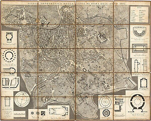 Topographic Map Games.1823 Rome Italy Topographic Map Mappa Di Roma Historical Vintage
