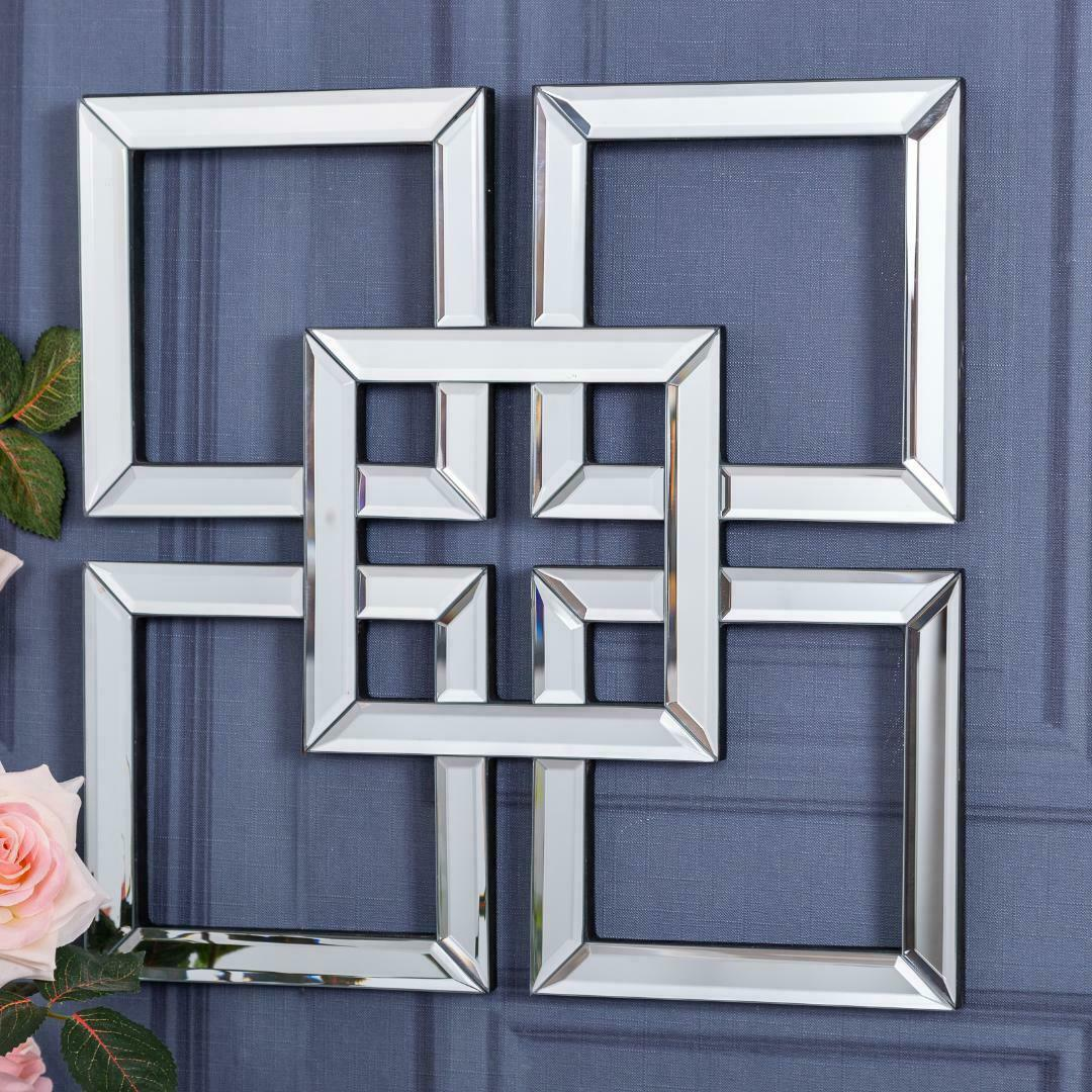 Square Mirrored Wall Art Mirror Geometric Glass Bevelled Art Decor 40 X 40cm Ebay