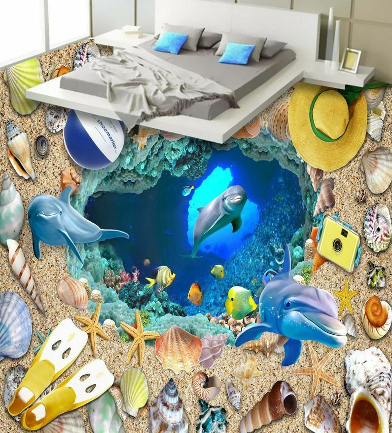 3D beach fish stone 79 Floor WallPaper Murals Wall Print Decal  5D AJ WALLPAPER