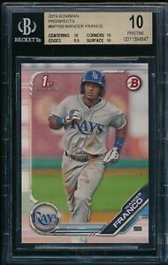 BGS-10-WANDER-FRANCO-2019-1st-Bowman-Prospects-Rays-Rookie-Card-RC-PRISTINE