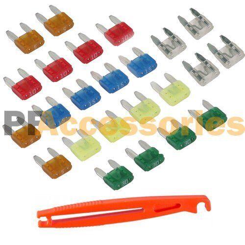 24 Pcs Mini Blade Car Fuse Blade Fuses Set Kit Assortment for Motorcycle w Plier