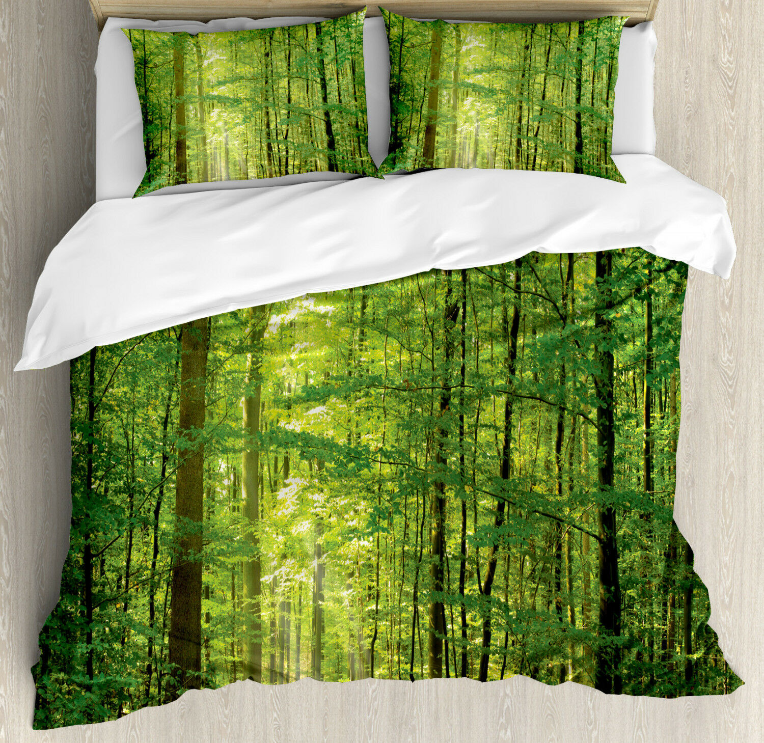 Woodland Duvet Cover Set with Pillow Shams Foliage Forest Summer Print