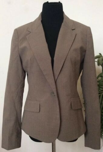 Company con New collo in 10 donna beige strisce 69 York poliestere a Nwt Msrp Giacca Sz xAqwgta