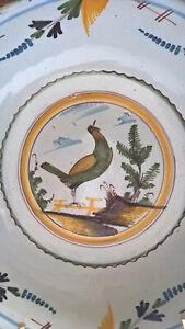 Superbe Grand Saladier Faience XVIIIe Nevers Auxerrois Décor d'oiseau chantant