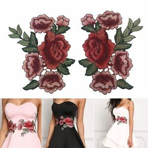 2X-Red-Rose-Flower-Embroidery-Sewing-Patch-Badge-For-Cheongsam-Dress-Shirts
