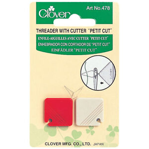 CLOVER-THREADER-WITH-CUTTER-034-PETIT-CUT-034-PACK-OF-2-RED-amp-CREAM-CONVENIENT-BN