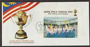 (F166M)MALAYSIA 1992 THOMAS CUP CHAMPION MS FDC CAT RM 12